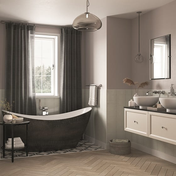 Alderley Bath with Caversham Ivory Lace Wall Hung Vanity Units