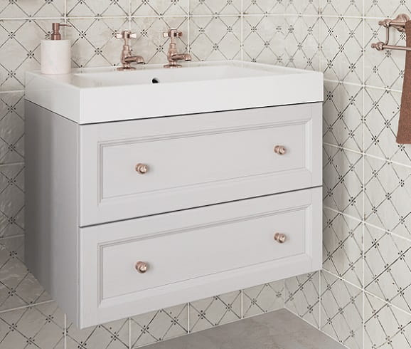 Caversham Dove Grey Wall Hung Vanity Unit with Hampstead Basin