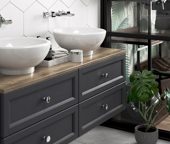 Caversham Graphite Wall Hung Vanity Units with Chiswick Vessel Basins