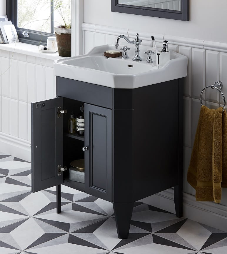 Caversham Vanity Unit with Granley Basin showing an open door