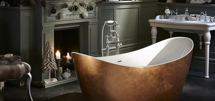 Hylton freestanding acrylic bath in copper