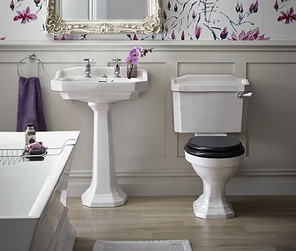 Granley Basin and Pedestal with orchid wallpaper