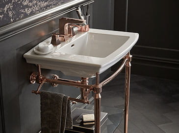 wash stand in rose gold from Heritage Bathrooms