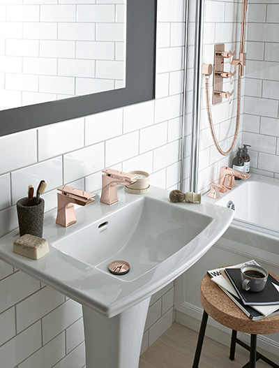 rose gold taps and shower