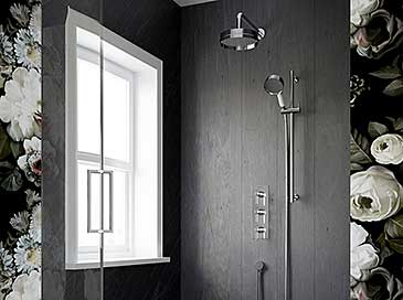 Heritage Bathrooms recessed showers with 2 outlets