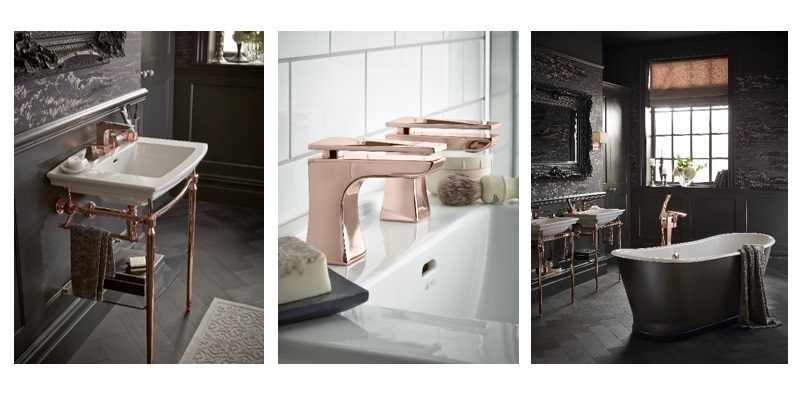 Rose gold designs for the bathroom heritage bathrooms for Rose gold bathroom decor