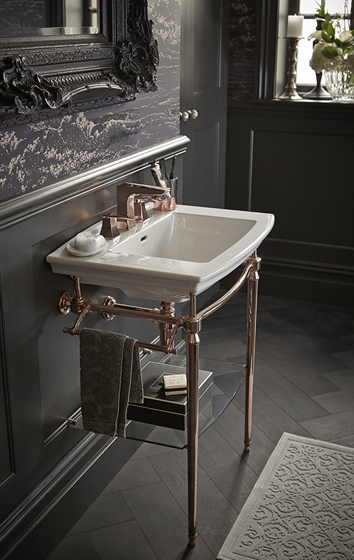 Rose gold washstand by Heritage Bathrooms