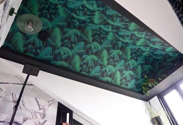 Wallpaper on ceiling