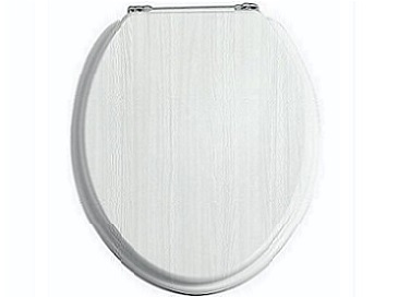 Toilet Seat Chrome Hinge White Ash