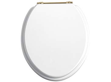 Toilet Seat Vintage Gold Hinges White Gloss
