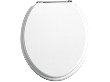 Toilet Seat Chrome Hinges White Gloss
