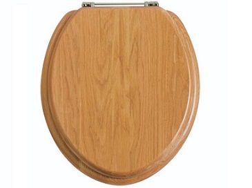 Toilet Seat Chrome Hinge Oak
