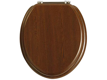 Toilet Seat Chrome Hinge Walnut