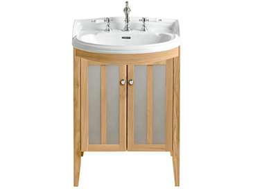 Hidcote Bowfront Medium Vanity Unit Oak