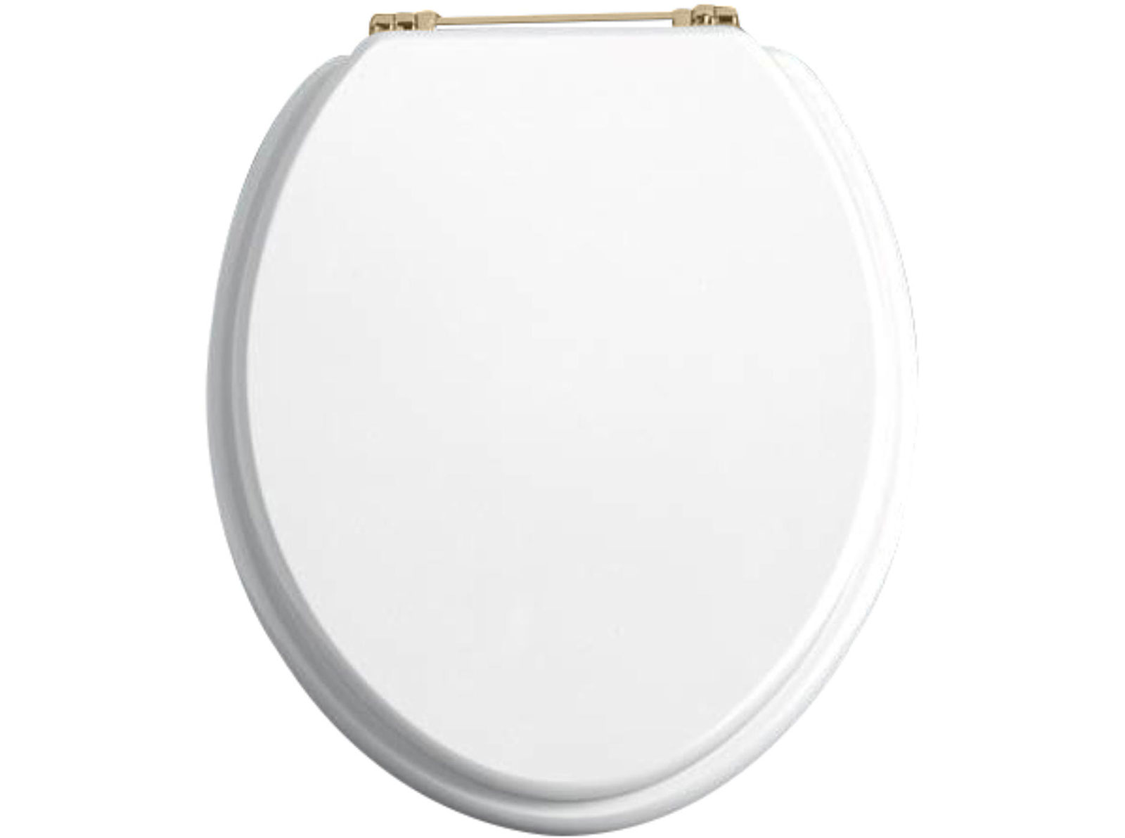 White Ash Toilet Seat With Vintage Gold Standard Hinge