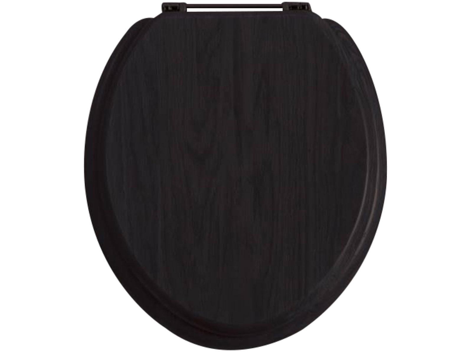 Black Toilet Seat With Chrome Standard Hinge WC Seat Wooden - Black wooden toilet seat