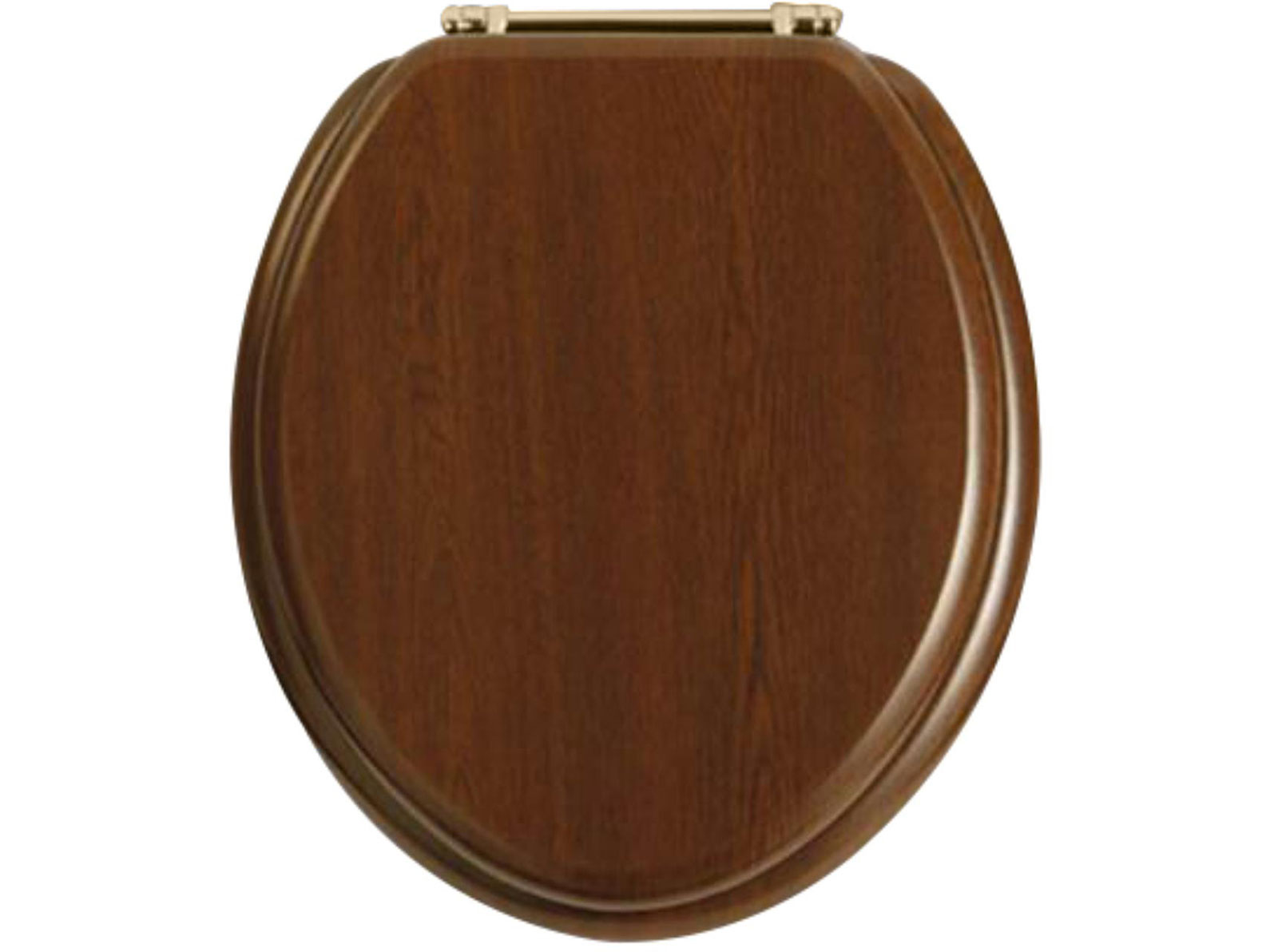 walnut toilet seat with vintage gold standard hinge wc