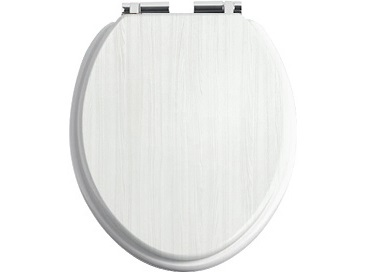 White Ash Toilet Seat With Chrome Soft Close Hinge Wc Seat