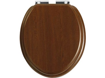 Toilet Seat Soft Close Chrome Hinge Walnut