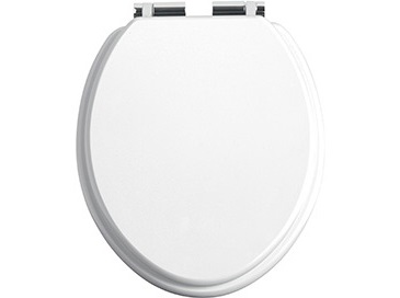Toilet Seat Soft Close Chrome Hinges White Gloss