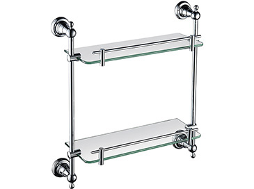 Holborn Double Glass Shelf Chrome