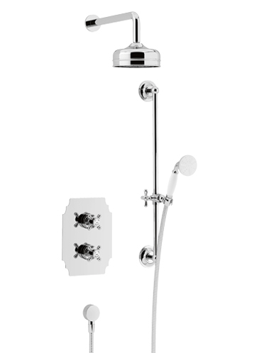 Hartlebury Recessed Thermostatic Dual Control Shower Valve with Premium Fixed Head and Flexible Riser Kits Chrome