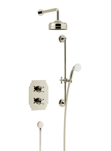 Hartlebury Recessed Thermostatic Dual Control Shower Valve with Premium Fixed Head and Flexible Riser Kits Vintage Gold