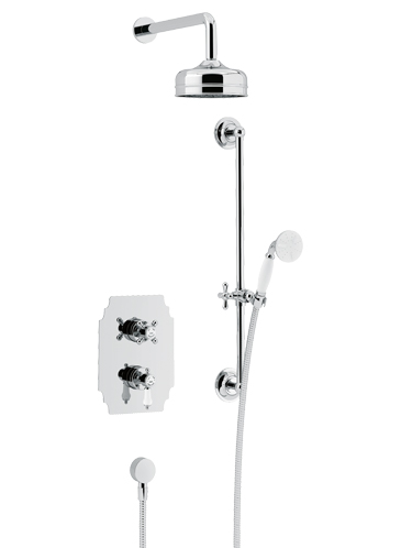 Glastonbury Recessed Thermostatic Dual Control Shower Valve with Premium Fixed Head and Flexible Riser Kits Chrome