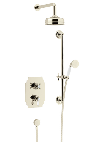 Glastonbury Recessed Thermostatic Dual Control Shower Valve with Premium Fixed Head and Flexible Riser Kits Vintage Gold