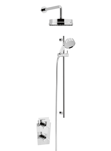 Gracechurch Recessed Thermostatic Dual Control Shower Valve with Deluxe Fixed Head and Flexible Riser Kits Chrome
