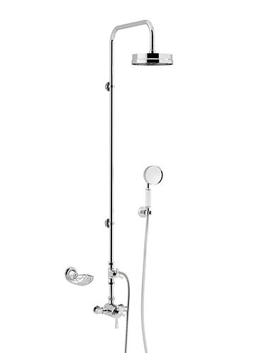 Gracechurch Exposed Shower with Mother of Pearl Handles Deluxe Fixed Riser Kit & Diverter to Handset Chrome