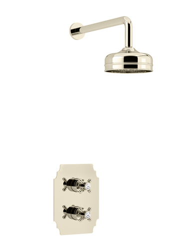 Hartlebury Recessed Thermostatic Dual Control Shower Valve with Premium Fixed Head Kit Vintage Gold