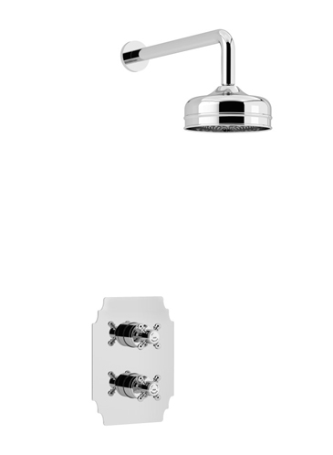 Hartlebury Recessed Thermostatic Dual Control Shower Valve with Premium Fixed Head Kit Chrome