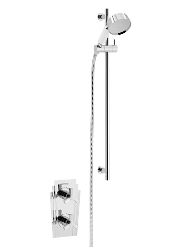Gracechurch Recessed Thermostatic Dual Control Shower Valve with Deluxe Flexible Riser Kit Chrome