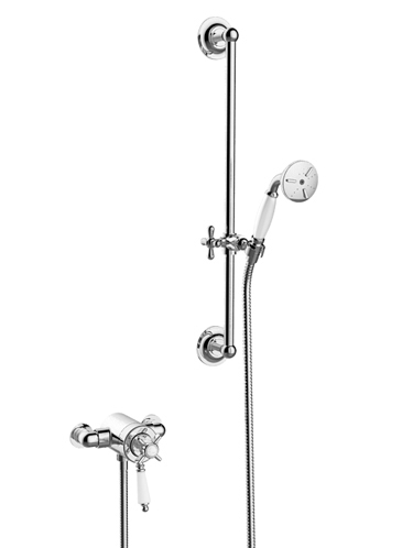 Dawlish Exposed Thermostatic Dual Control Shower Valve with Premium Flexible Riser Kit Chrome