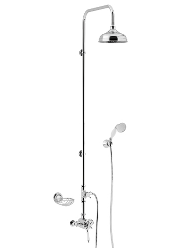 Avenbury Exposed Thermostatic Dual Control Shower Valve with Deluxe Fixed Riser Kit and Diverter to Handset Chrome