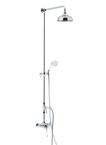 Dawlish Exposed Thermostatic Dual Control Shower Valve with Premium Fixed Riser Kit and Diverter to Handset Chrome