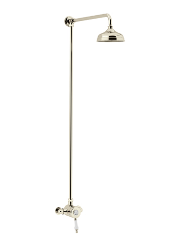 Glastonbury Exposed Thermostatic Single Control Shower Valve with Premium Fixed Riser Kit Vintage Gold