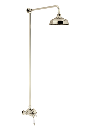 HartleburyExposed Thermostatic Dual Control Shower Valve with Premium Fixed Riser Kit Vintage Gold