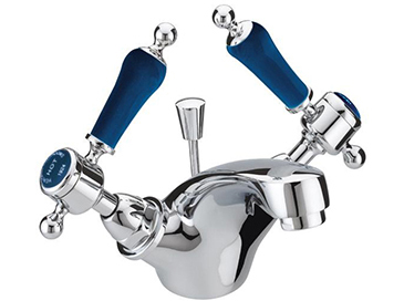 Glastonbury One Taphole Basin Mixer Chrome with Blue Levers