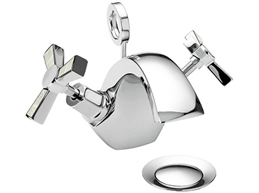 Gracechurch One Taphole Basin Mixer Chrome & Mother of Pearl