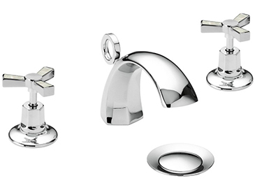 Gracechurch 3 Taphole Basin Mixer Chrome & Mother of Pearl
