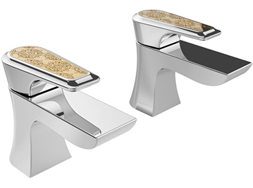 Lymington Basin Taps Chrome with Gold Inlay