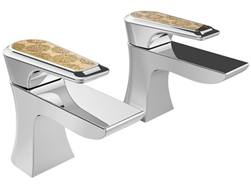 Lymington Bath Taps Chrome with Gold Inlay