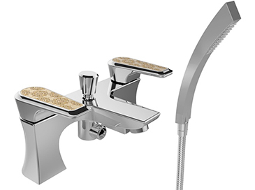 Lymington Bath Shower Mixer Chrome with Gold Inlay