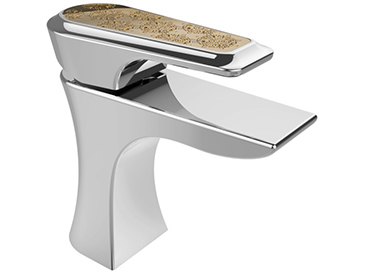 Lymington One Taphole Basin Mixer Chrome with Gold Inlay