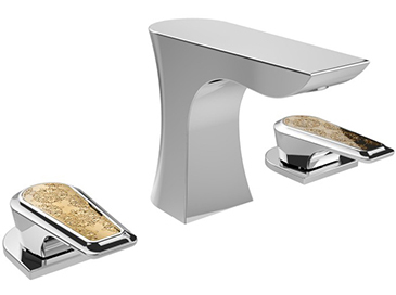 Lymington 3 Taphole Basin Mixer Chrome with Gold Inlay