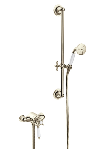 Dawlish Exposed Thermostatic Dual Control Shower Valve with Premium Flexible Riser Kit Vintage Gold