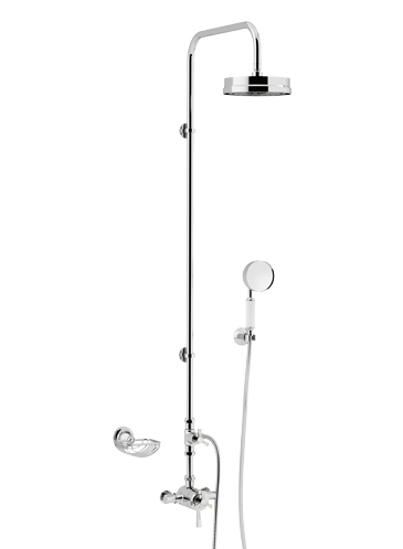 Gracechurch Exposed Thermostatic Dual Control Shower Valve with Deluxe Fixed Riser Kit and Diverter to Handset Chrome