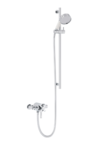 Gracechurch Exposed Thermostatic Dual Control Shower Valve with Deluxe Flexible Riser Kit Chrome